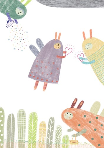 Valeria Valenza Illustration - valeria valenza, licensing, greetings cards, digital, pattern, text, fairy, colourful, pastel, pattern, decorative, hearts, quirky