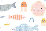 Lisa Koesterke Illustration - digital, hand drawn, photoshop, postcard, illustrator, colourful, bright, greetings card, greeting, stationary, pattern, underwater, sea, ocean, fish, pufferfish, crabs, jellyfish, animals, nautical, cute, sweet, repeat, repeating pattern, wrapping paper,