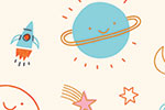 Lisa Koesterke Illustration - digital, hand drawn, photoshop, postcard, illustrator, colourful, bright, greetings card, greeting, stationary, pattern, space, stars, planets, rockets, rainbows, moon, shooting stars, smiles, face, cute, sweet,