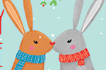 Louise  Wright Illustration - louise, wright, louise wright, digital, photoshop, illustrator, post card, greetings card, licensing, art licensing, christmas, festive, couple, xmas, decorative, rabbits, bunnies, scarves, love, snowflakes, woodland
