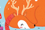 Louise  Wright Illustration - louise, wright, louise wright, digital, photoshop, illustrator, post card, greetings card, licensing, art licensing, christmas, festive, holiday, couple, xmas, decorative, deer mouse, hat, friend, snowflakes, woodland