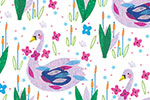 Louise  Wright Illustration - louise, wright, louise wright, digital, photoshop, illustrator, repeat pattern, surface pattern design, textiles, gift wrap, wrapping paper, birds, swans, plants, reeds, flowers, floral, painterly