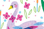 Louise  Wright Illustration - louise, wright, louise wright, digital, photoshop, illustrator, post card, greetings card, licensing, art licensing, birthday, lovely, swan, birds, reeds, flowers, plants, typography