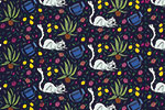 Maria  Serrano Canovas Illustration - maria, serrano, black line, digital, photoshop, illustrator, repeat pattern, surface pattern design, gift wrap, wrapping paper, secret garden, gardening, cat, kitten, plants, nature,