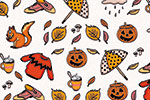 Maria  Serrano Canovas Illustration - maria, serrano, black line, digital, photoshop, illustrator, repeat pattern, surface pattern design, gift wrap, wrapping paper,autumn, halloween, leaves, seasonal,