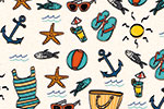 Maria  Serrano Canovas Illustration - maria, serrano, black line, digital, photoshop, illustrator, repeat pattern, surface pattern design, gift wrap, wrapping paper, summer, sun, beach, holiday, tropical