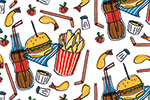Maria  Serrano Canovas Illustration - maria, serrano, black line, digital, photoshop, illustrator, repeat pattern, surface pattern design, gift wrap, wrapping paper, food, fast food, bold, graphic, shake, burger, fries, chips