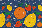 Maria  Serrano Canovas Illustration - maria, serrano, black line, digital, photoshop, illustrator, repeat pattern, strawberries,  surface pattern design, gift wrap, wrapping paper, bold, fruit, lemons, oranges