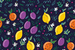 Maria  Serrano Canovas Illustration - maria, serrano, black line, digital, photoshop, illustrator, repeat pattern, surface pattern design, gift wrap, wrapping paper, bold, fruit, lemons, orange, plums