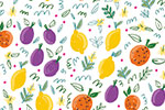Maria  Serrano Canovas Illustration - maria, serrano, black line, digital, photoshop, illustrator, repeat pattern, surface pattern design, gift wrap, wrapping paper, bold, fruit, oranges, lemons, plums, wallpaper